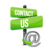 green contact us sign and online at symbol