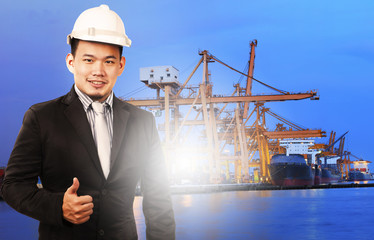 young manager man standing and sign good quality control of port