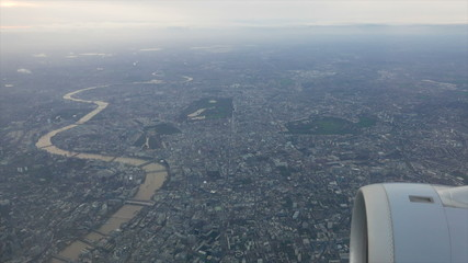 Aerial view of central London from plane