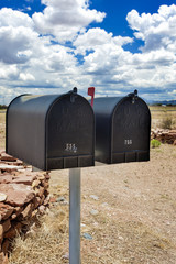 Row of Old Postboxes in Arizona State, USA