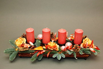 Advent christmas decoration with four pink candles