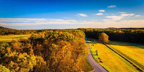 Autumn view of battlefields from Longstreet Observation Tower in