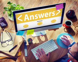 Online Business Answers Information Office Working Concept