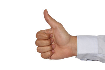 Thumps up sign or clinton sign with white background