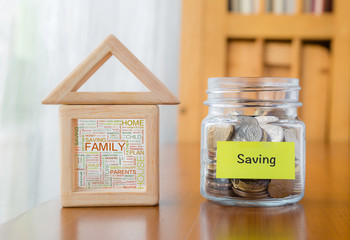 Saving money with family home word cloud