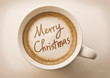 Merry christmas drawing on latte coffee cup