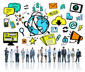 Business People Technology Global Media Community Team Concept