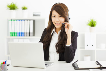 young business woman in headset