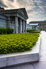 Bushes and buildings at the Captiol Complex, in Harrisburg, Penn