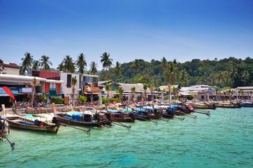 Long Tail Boats on Beach at Phi Phi Leh island, Krabi, Thailand