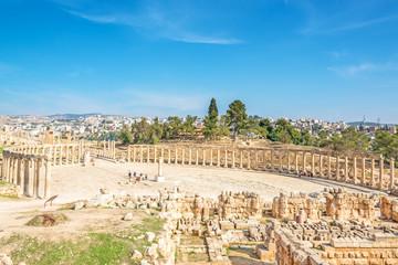 Jerash's Oval Forum in ancient Gerasa, modern Jerash, Jordan