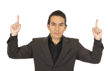 handsome young man wearing a suit posing showing one finger