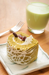 Japanese confectionery, green tea and red bean cake