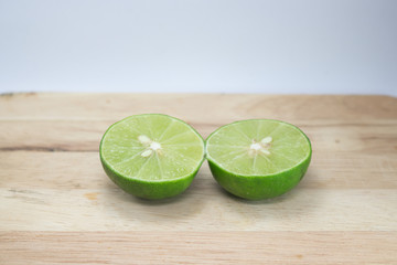 lemon, cut in half on board