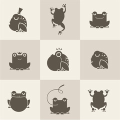 Frog characters flat