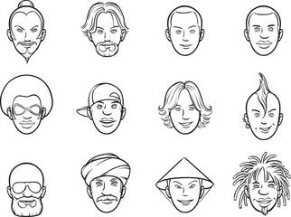 whiteboard drawing - cartoon avatar eccentric faces