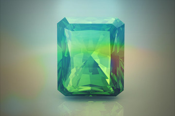 Peridot gem .on white background (high resolution 3D image)