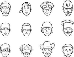 whiteboard drawing - cartoon avatar faces various occupations