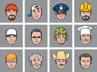Cartoon avatar faces various occupations