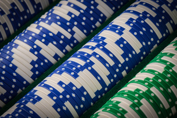 Poker Chips in a Row Close Up