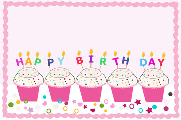 Happy birthday greeting card with cupcakes and candles