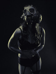 Woman and gas mask