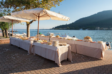 catering and wedding party on the sea