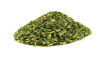Closeup of pile of green tea