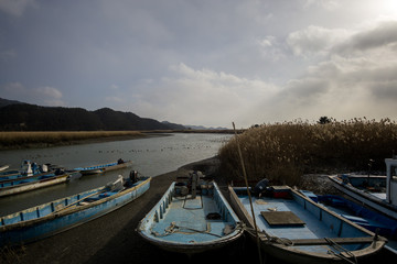 Boats stationed in the wetland in Suncheon, South Korea.