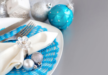 Turquoise blue and silver Christmas Table Setting
