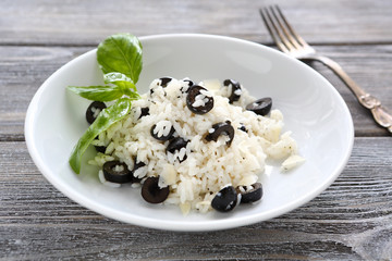 risotto with slices of black olives