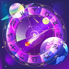 The signs of the zodiac, zodiac circle in space