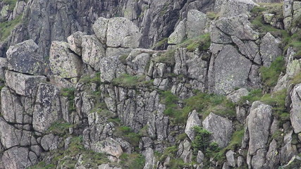 Geology. Granite walls of Snowy Cirque in Karkonosze mountains