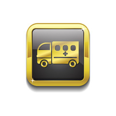 Ambulance Gold Vector Icon Button