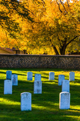 Graves and autumn color at the Gettysburg National Cemetary.
