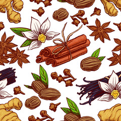 seamless hand-drawn spices