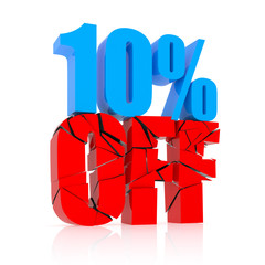 10 percent discount icon on white background