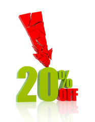 20 percent discount icon on white background