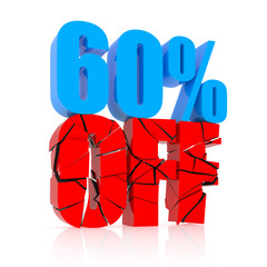 60 percent discount icon on white background