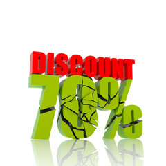 70 percent discount icon on white background