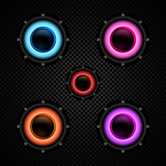 Colorful speakers set on background