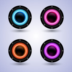 Colorful speakers set isolated on background