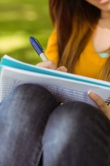 Mid section of student doing homework in park