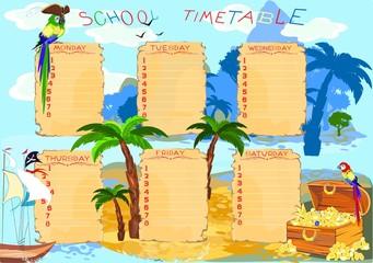School timetable with Treasure island