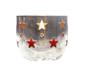 christmas xmas candles silver holder cup isolated vintage advent
