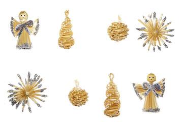christmas decoration straw angels with shining xmas