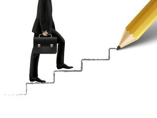 businessman walking on hand drawn stairs