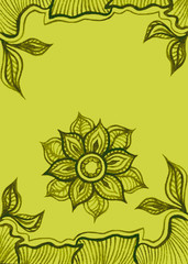 Background  or Banner with water color abstract flowers in green