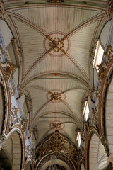 Humble baroque church wooden ceiling