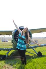 beautiful girl as old plane propeller